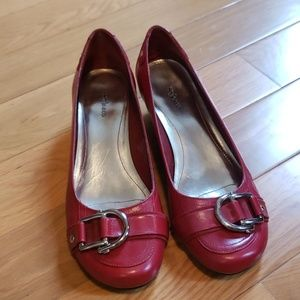 Red wedge ballet flats